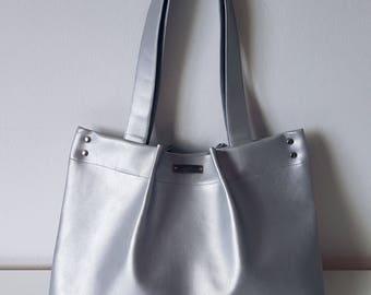 ninaluba Tote BAG / Silver / Riveted Crease / Artificial Leather / Dadi