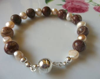 Sterling Silver Magnetic Clasp bracelet with a  mix of creamy pink freshwater pearls and brownstone beads