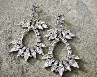 Vintage Rhinestone Earrings, 1950's Statement Rhinestone Chandelier Earrings, Vintage Clip On Diamond Earrings