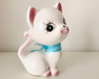 SALE- Vintage Ceramic White kitten Figurine