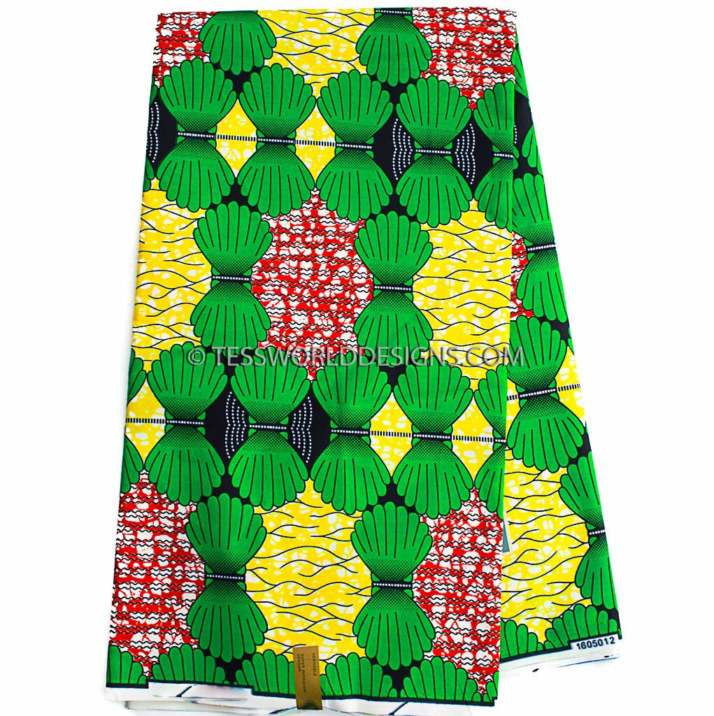 African fabric by yard green ankara fabric poly cotton for Patterned material for sale