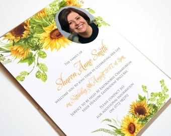 Funeral Memorial Announcement or Invitation - Sunflowers Printable PDF File
