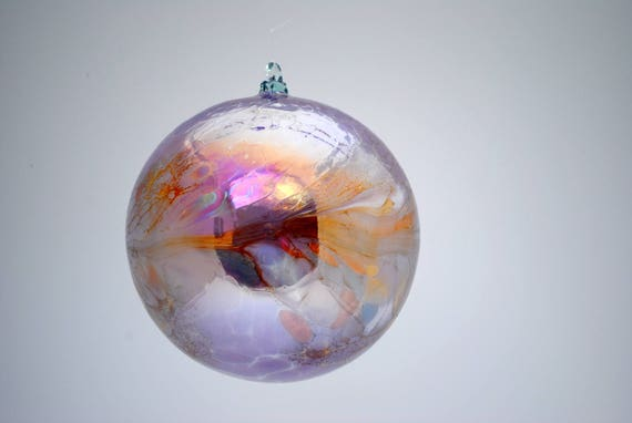 e00-64 Extra Large Iridescent Ornament Lilac with colorful chips melted on top
