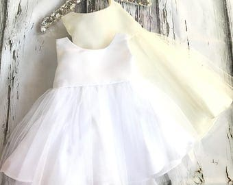 Baby Girl Christening Dress Baby Baptism Dress White baby dress white baptism dress toddler ivory baby baptism dress satin baptism dress