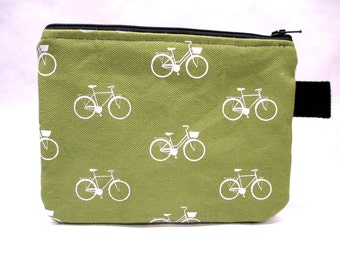 Green and White Bicycle Print Bag / Clutch / Small Handbag