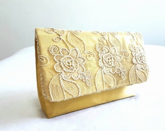 Gold clutch purse, gold lace clutch, lace embroidered fabric clutch, sparkling glittering, wedding bridal evening purse, bridesmaids gift