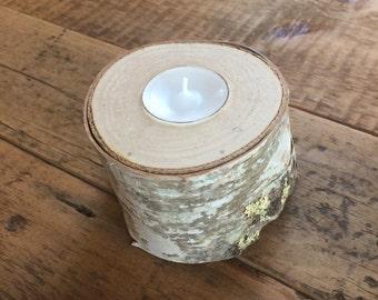 Birch Log Slice Tea Light Candle Holder