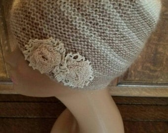 Shabby Fab Knitted Slouch Beanie with lace flowers (SALE)