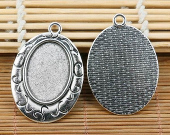 3pcs tibetan silver tone delicate oval cameo 18*25mm cabochon settings EF2149