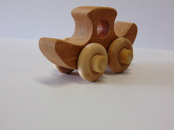 Natural Wood Toy Duck Car