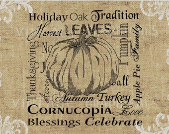 Collage of Thanksgiving words Harvest pumpkin Instant Digital download graphic image for iron on fabric transfer burlap pillow cards No. 873
