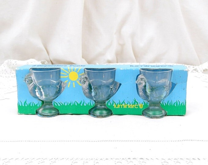 3 Unused Boxed Vintage French Clear Glass Chicken / Rooster / Hen Shaped Egg Cups Made by Luminarc, French Retro, Home, Kitchenware, Arc