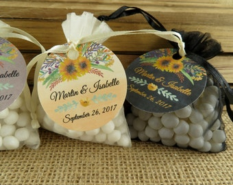 Organza Favor Bags With Personalized Tags - 20 Pieces - Yellow Watercolor Floral Design - ANY OCCASION - wfy