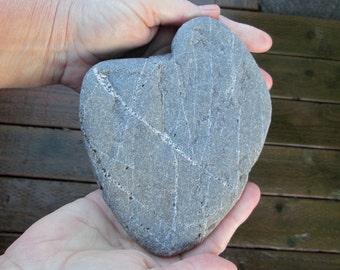 Lg. Natural Heart Shaped Rock - Beach Stone Heart - Love Rock - 3 pounds! Wedding - Anniversary - Zen Rock - Suiseki HR99