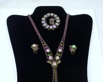 ON SALE Dragon Egg Stones Jewelry Set  / Book Piece Mid Century / Wedding Jewelry