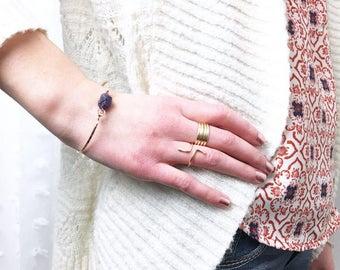 Genuine Raw Amethyst Bracelet / Rough Amethyst Bangle / February Birthstone / Amethyst Cuff / Gift for Mom / Bohemian Jewelry