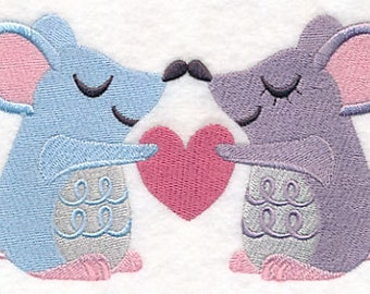 Snuggling Mouse Couple Embroidered on Made-to-Order Pillow Cover