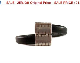 SALE - 25% Off Original Price Men's Power Bracelet - Licorice Leather Cuff Bangle Bracelet with Magnetic Clasp