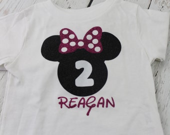 Minnie Mouse 1st Birthday Shirt Hot Pink Polka Dot Minnie Mouse Shirt Short or Long  Sleeves Minnie Mouse 2nd Birthday Shirt