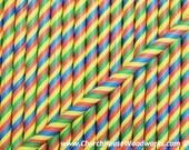 Striped Rainbow Multi Color Kaleidoscope Paper Straws: Drinking Paper Straws, Striped Paper Straws, Birthday Party Straw, Colorful,  Unicorn
