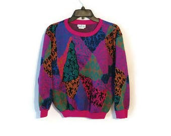 Vintage 1980s Top Patchwork fun Plus Size Womens 1X colorful pullover shirt