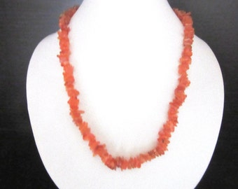 Orange Citrine Necklace Quartz Gemstone Chips 16.5 - 19.5 Inches