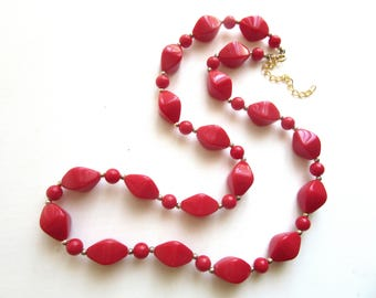 Long Chunky Necklace True Red Molded Lucite Resin Beads 24 - 27 Inches