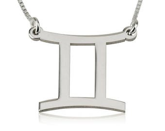 Gemini Necklace, Zodiac Necklace, Gift for Gemini, Astrology Necklace, Chic Gemini Pendant, Sterling Silver Gemini Necklace