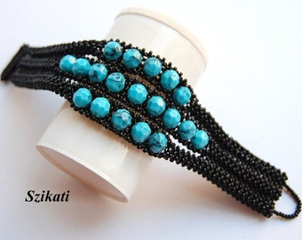 Black/Turquoise Statement Cuff Bracelet, Beadwoven High fashion Jewelry, Women's Beaded Accessory, Right Angle Weave, Gift for Her, OOAK