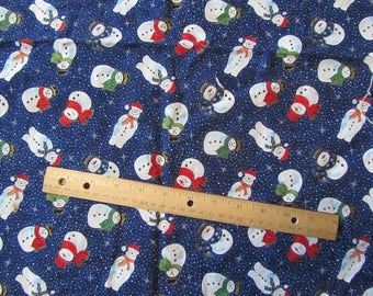 Blue Snowman Polka Dot Fabric by the Yard