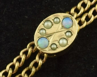"Victorian Gold Filled Pocket Watch Chain Opals Seed Pearls 50"" Long ~ Lot 1000"