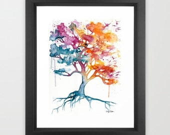 Fearless Colorful Tree Watercolor Painting Framed Art Print