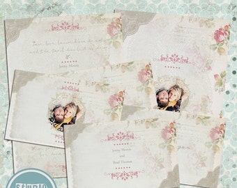 ON SALE Wedding Invitations, Response card, Details card, Templates, psd - INSTANT Download