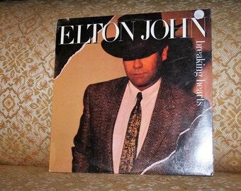 """Rare 1984 Elton John """"Breaking Hearts"""" Vinyl Album Sealed in Shrinkwrap!  GEFFEN 21031!  Never Opened!"""