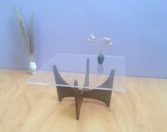 Glass & Wood Square  COFFEE TABLE 1:6 ,Collectible Dollhouse Miniature Furniture,Modern Design,60's
