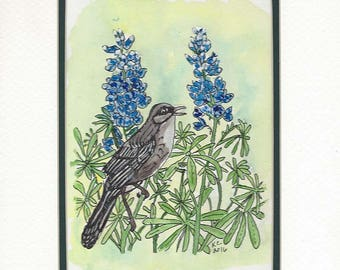 Original Pen Ink and Watercolor Painting of A Mockingbird Among Texas Bluebonnets with a 10 x 8 inch Mat
