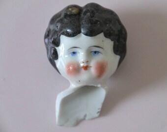 Victorian Doll Head / Vintage Frozen Charlotte Doll Head / Antique Painted Doll Head / Excavated Painted Victorian Doll Head