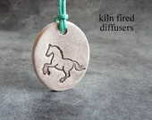 Horse White Aroma Clay Essential Oil Diffuser Necklace Pendant Animal Lovers Jewelry for Pure Healing or Fragrance Scent Diffusing Oils