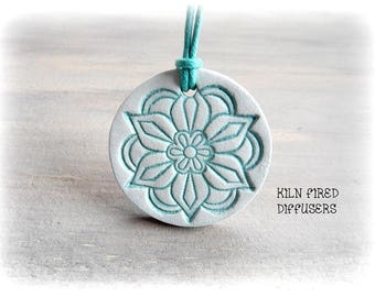 Throat Chakra Turquoise Mandala Essential Oil Diffuser Pendant Necklace Meditation Natural Healing Pure Therapeutic Grade Oils Jewelry