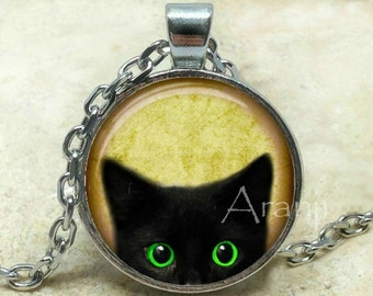 Black kitten art pendant, black cat pendant, black cat necklace, black cat jewelry, kitten necklace, kitten pendant, Pendant #AN223BR