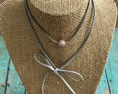 Suede Wrap Choker Necklace, Light Gray Suede, Rose Gold Pave Bead, Bolo Necklace, Wear Many Ways, Ready to ship