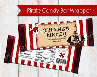 Pirate Chocolate Candy Bar Wrappers - Instant Download