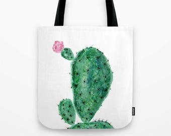 Cactus Tote Bag, succulent tote, succulent bag, plant lover gift, floral tote bag, succulent bag, plant tote bag, flower tote bag