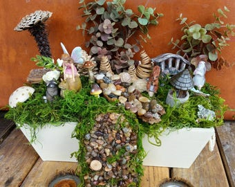 SALE Complete Fairy Garden Kit with Container, Woodland Theme, Handmade Items, Unique. Tasteful and Adorable, FREE Shipping