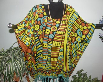 Chartreuse Yellow Abstract Art Design Tunic, Poncho, Dress for Plus Size or Full Figures - Beautiful border and fringe