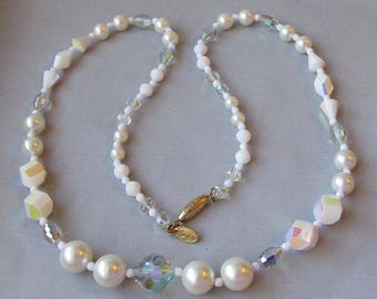 Signed Vendome Wedding White Aurora Borealis Crystal & Faux Pearl LONG Necklace