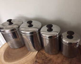 Vintage Four Piece Vollrath Stainlees Steel Canister Set