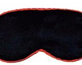 Customized Black silk sleep mask with Green trim