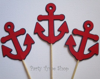 12 Anchor Cupcake Toppers, Banner, Centerpieces, Birthday, Baby Shower, Nautical, Navy Blue and Red