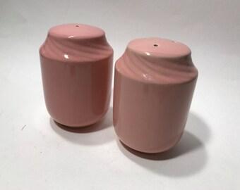 Large Vintage PINK Salt and Pepper Shakers Ceramic Plugs